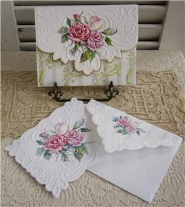 Carol Wilson FRENCH SCROLL ROSES 10 ct Blank Note Cards