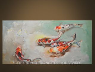 Group Brocade Carp Koi Carp Fish Original Oil Painting Art on Canvas