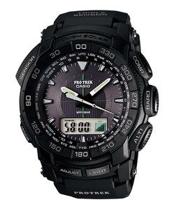 Casio ProTrek PathFinder PRG 550 1A Solar Triple Sensor Black Watch