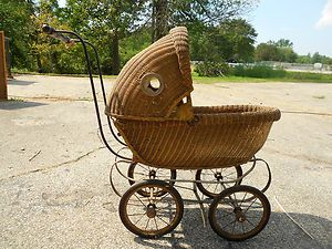 Vintage Antique Woven Wicker Baby Doll Buggy Carriage