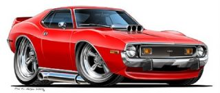 1971 74 AMC Javelin Muscle Car Cartoon Tshirt Free