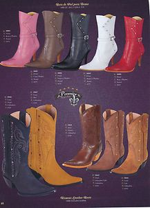 Premier Genuine Leather Ladies Western High Heel Boots Diff Colors