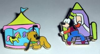 Disney 7 Pin Set Mickey Castle Pluto Donald Duck Chip Dale