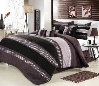 Castle Rock Purple, Silver, Lavenders King 7 Piece Comforter Bed In A