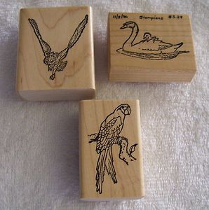 Stampians Unused Rubber Mounted Wood Stamp Stamps Owl Parrot Swan