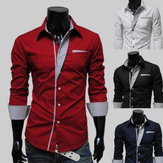 Mens Casual Stripes Slim Long Sleeve Polo Shirt T Shirts Tee Shirt M