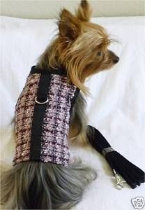New Dog Cat Clothing Apparel Vest Leash Harness Tweed Velcro Pinks XS