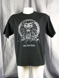 The Lion King Disney Broadway Musical T Shirt Large Black & Grey with