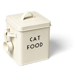 Enamel Cream Vintage Cat Dog Food Stylish Container