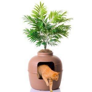 New Hidden Cat Litter Box w Hood Plant Pet