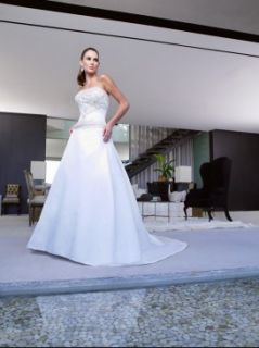 Casablanca Wedding Dress Bridal Gowns Sz 16 7167 Wht Satin w Champagne