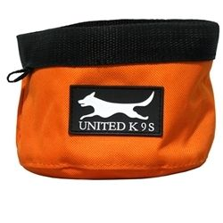 Orange Canvas Dog Cat Food and Water Bowl Dish Hiking