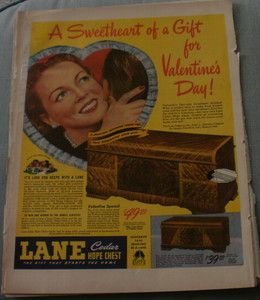 Lane Cedar Hope Chest Original Ad 1946 10x13