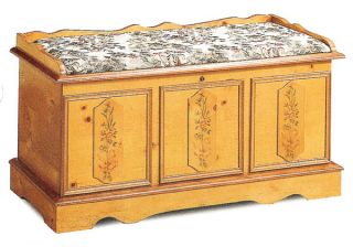 Padded Pine Finish Floral Cedar Hope Chest Trunk Lock