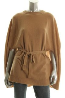 Hayden New Tan Cashmere Crew Neck Belted Poncho Sweater M L BHFO