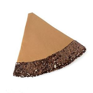 Rich Champaign Color Christmas Tree Skirt with alot of Large Bronze