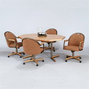 DINING KITCHEN GROUP on CASTERS LAMINATE TABLE 4 SWIVEL TILT CHAIRS
