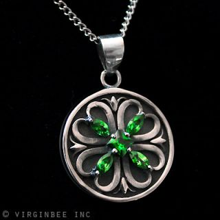 Celtic Cross Shamrock Irish Clover Green Sterling Silver Pendant Chain