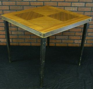 Antique/Vtg Castlewood Folding Legs Card Table. Inlayed Wood