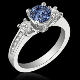 51 carat Blue center diamond royal engagement ring white gold