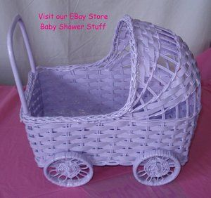 Wicker Baby Carriage Lavender for Baby Shower Centerpiece