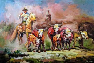 Cowboy Art Horse Cattle Drive Dusty Trail Western 24x36 Oil on Canvas
