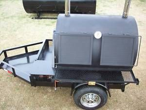 New Rotisserie Charcoal Wood BBQ Smoker Grill Trailer