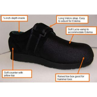 Dr Zen Special Black Titan Mens Therapeutic Diabetic Slipper Shoe