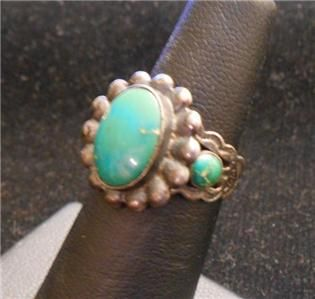 Harvey Era Navajo Cerrillos Turquoise Sterling Silver Ring