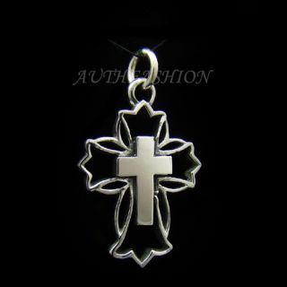 Silver 925 Gothic Center Cross Pendant for Chain Necklace