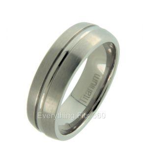 Titanium Wedding Ring w Center Ridge Comfort Fit 7mm Sizes 5 14