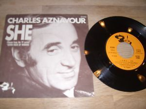 Charles Aznavour She 1974 Mint 7 French 7 inch Vinyl Single Limited