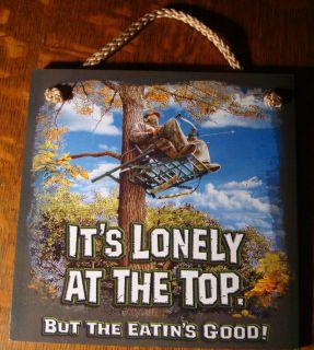 Lonely Deer Hunter Wood Sign Rustic Hunting Lodge Log Cabin Home Decor