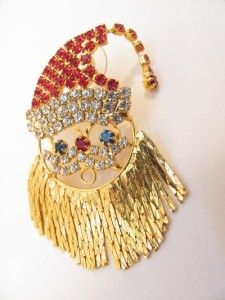 Santa Clause Earrings Large Gold Chain Beard Rhinestones 2