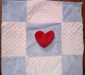 Googie Lovey Baby Blanket Satin Pink Lavender w Red Heart Minky Dot 18