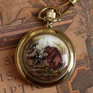 Chaika Russian Vintage Finift Gold Plated Enamel Pocket Watch Wild