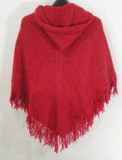 Cejon Red Knit Hooded Acrylic Wool Blend Poncho Sweater New Womens One