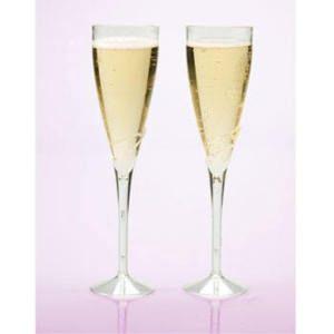 24 9 Champagne Flues Glasses Plasic Pary Supplies