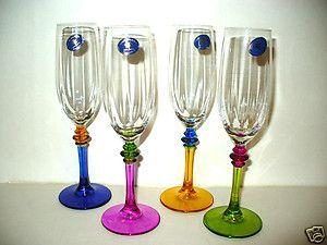 CHAMPAGNE CRYSAL GLASSES FRAELLI BOX SE OF 4 IALIAN AR GLASS