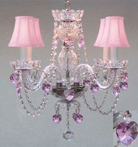 CRYSTAL CHANDELIER W/ PINK CRYSTAL HEARTS & PINK SHADES