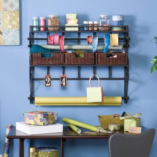 Wall Mount Craft Storage Shelf Rack w Baskets Black
