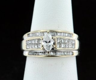 34 Carat Marquise Cut Diamond Engagement Wedding Ring 14k White Gold