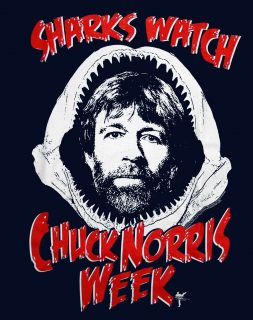 Chuck Norris Sharks Watch Chuck Week Funny Famous Icon T Shirt Tee