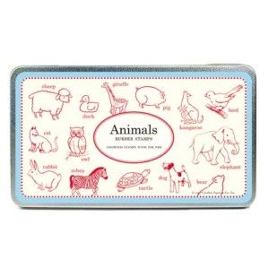 Cavallini Co Animals Rubber Stamp Set
