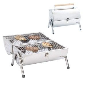 Portable Camping Tailgate Charcoal BBQ Grill Stainless Steel Double