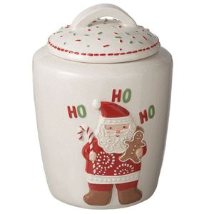 Claus HO HO HO Gingerbread Ceramic Cookie Jar Christmas New