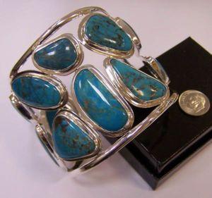 Charles Albert Sleeping Beauty Turquoise Wide Handmade Designer Cuff