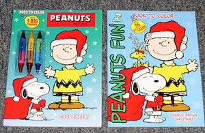 LOT 2 PEANUTS Charlie Brown NEW Christmas COLORING Sticker SNOOPY