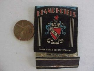 1940s WWII Era Charlotte Durham North Carolina Bland Hotels Matchbook