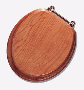 Solid Oak Wood Toilet Seat Fits round bowls brass hinge No cracking